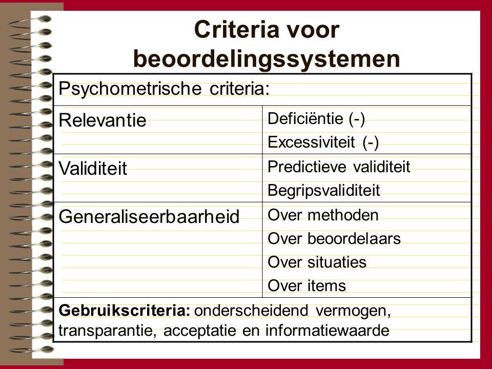 Criteria voor beoordelingssystemen Psychometrische criteria: Relevantie Deficiëntie (-) Excessiviteit (-) Validiteit Predictieve validiteit Begripsval