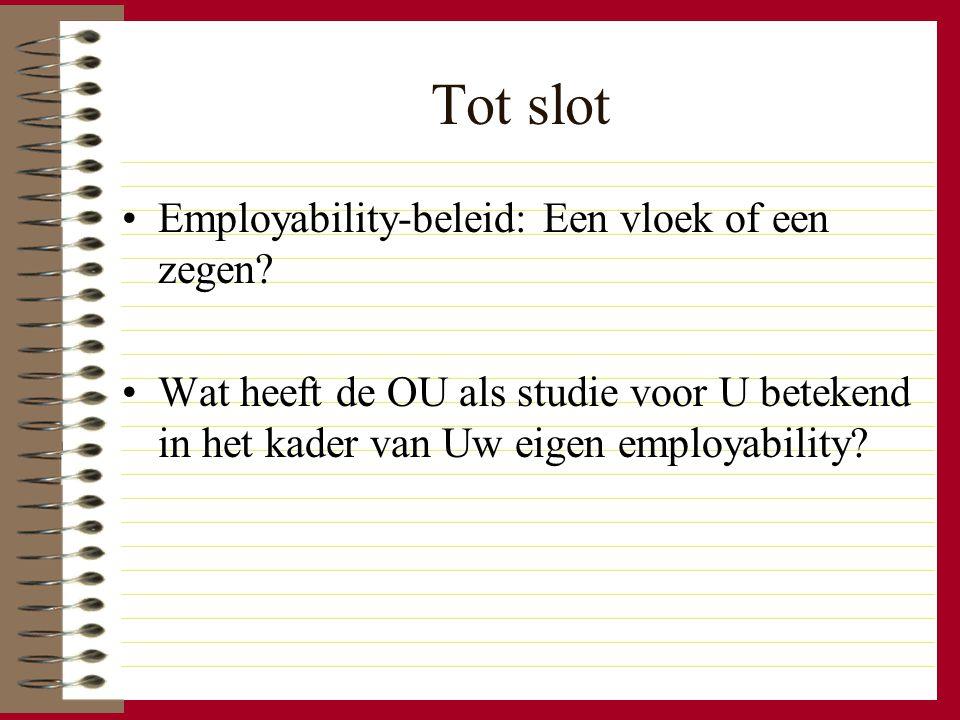 Tot slot Employability-beleid: Een vloek of een zegen? Wat heeft de OU als studie voor U betekend in het kader van Uw eigen employability?