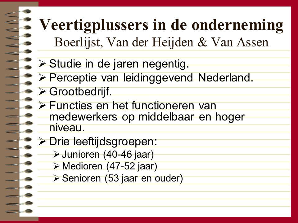 Veertigplussers in de onderneming Boerlijst, Van der Heijden & Van Assen  Studie in de jaren negentig.  Perceptie van leidinggevend Nederland.  Gro