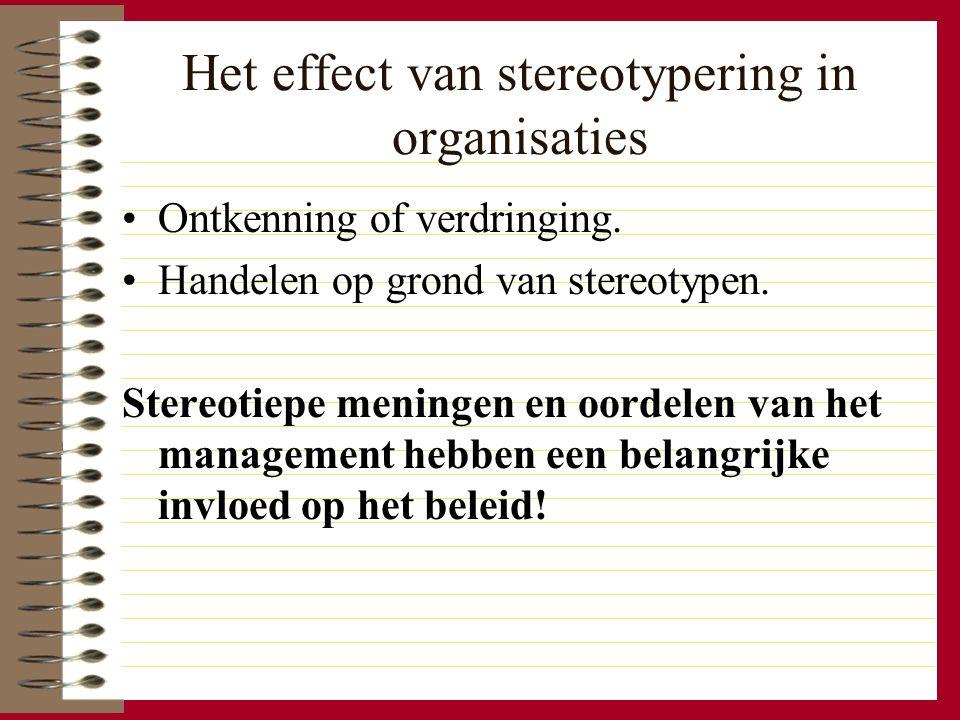 Het effect van stereotypering in organisaties Ontkenning of verdringing. Handelen op grond van stereotypen. Stereotiepe meningen en oordelen van het m