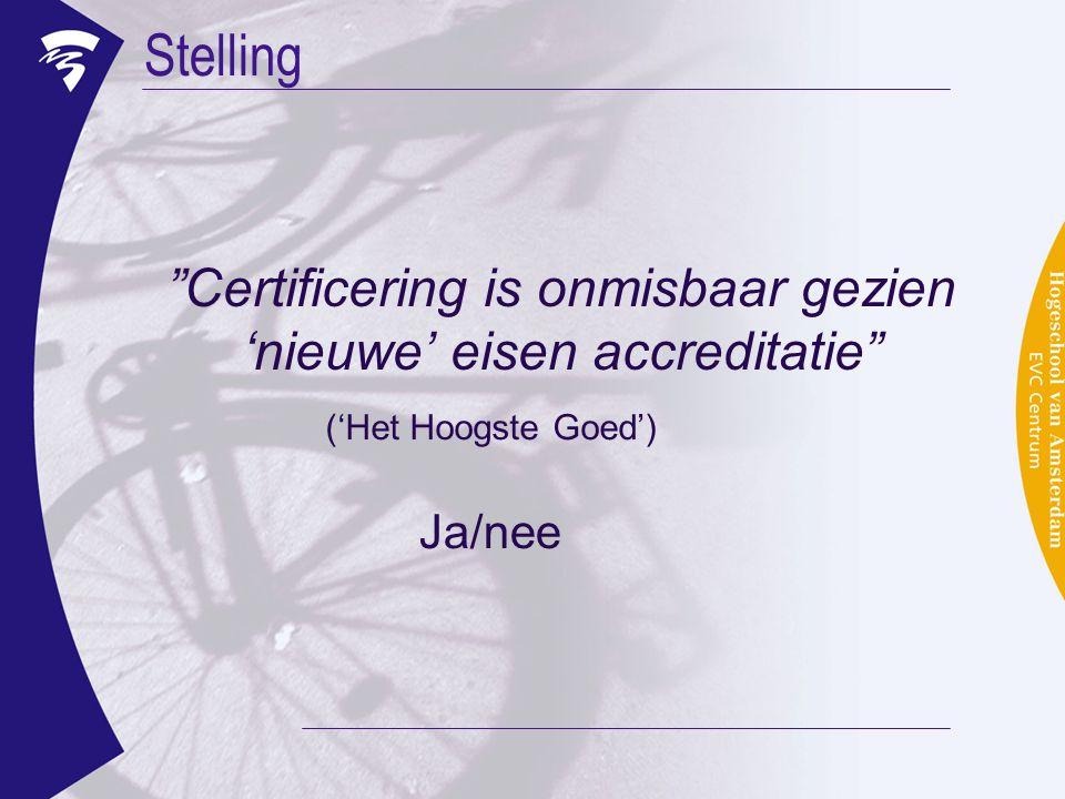 """Stelling """"Certificering is onmisbaar gezien 'nieuwe' eisen accreditatie"""" ('Het Hoogste Goed') Ja/nee"""