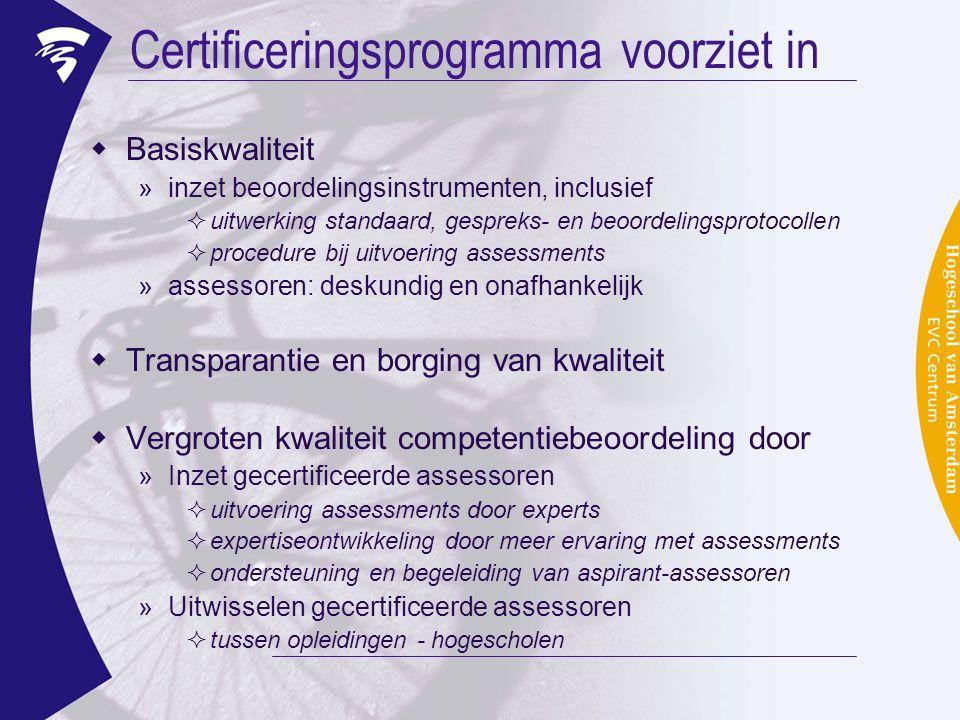Certificeringsprogramma voorziet in  Basiskwaliteit »inzet beoordelingsinstrumenten, inclusief  uitwerking standaard, gespreks- en beoordelingsproto