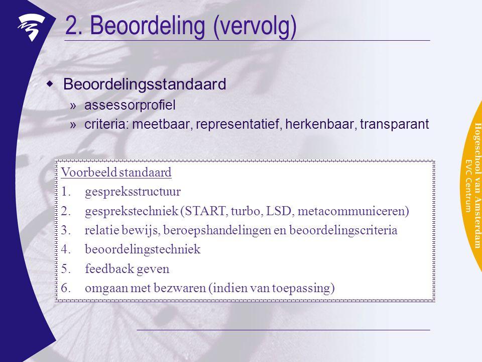 2. Beoordeling (vervolg)  Beoordelingsstandaard »assessorprofiel »criteria: meetbaar, representatief, herkenbaar, transparant Voorbeeld standaard 1.g