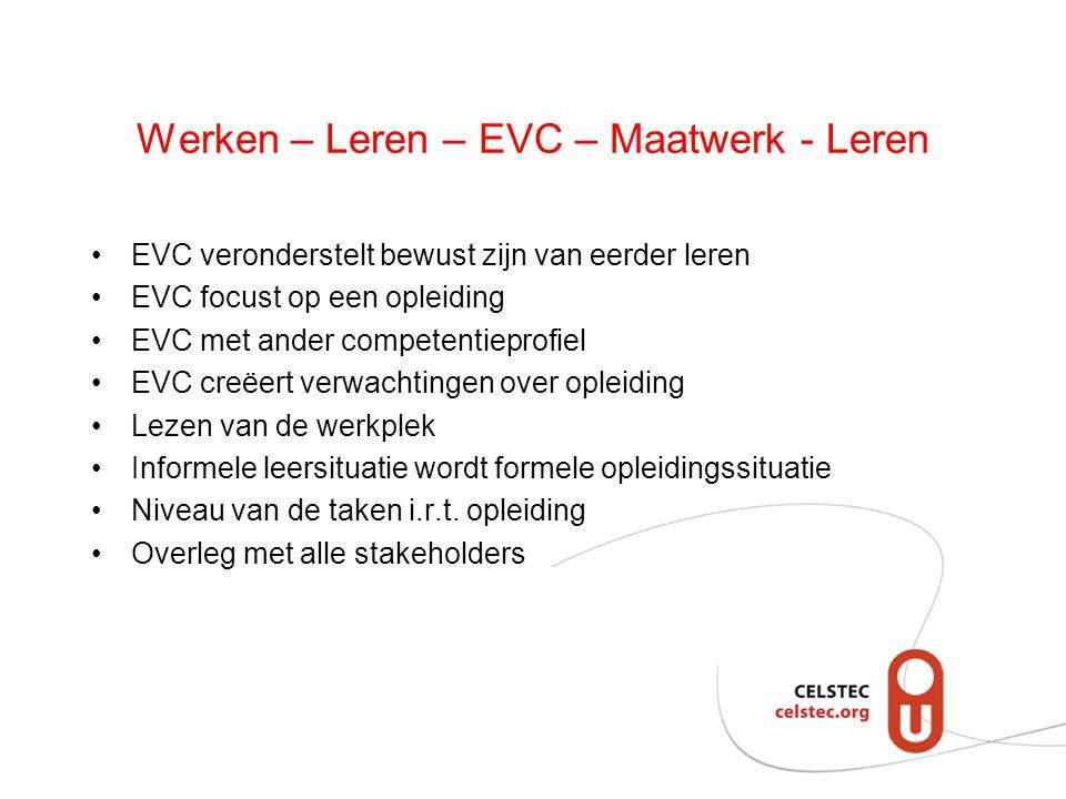 Werken – Leren – EVC – Maatwerk - Leren EVC veronderstelt bewust zijn van eerder leren EVC focust op een opleiding EVC met ander competentieprofiel EV