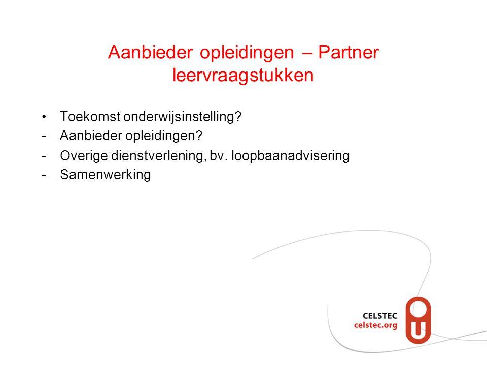 Aanbieder opleidingen – Partner leervraagstukken Toekomst onderwijsinstelling? -Aanbieder opleidingen? -Overige dienstverlening, bv. loopbaanadviserin