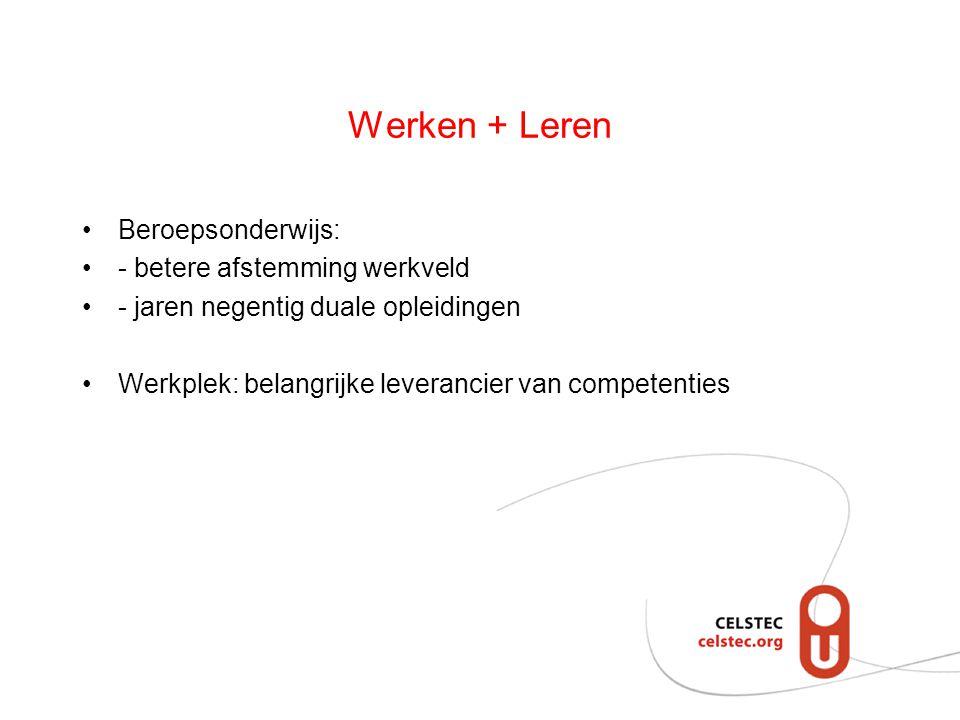 Werken + Leren Beroepsonderwijs: - betere afstemming werkveld - jaren negentig duale opleidingen Werkplek: belangrijke leverancier van competenties