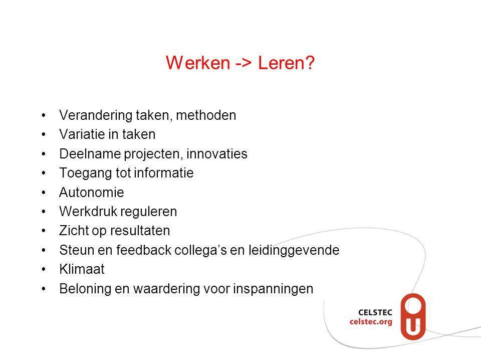 Werken -> Leren? Verandering taken, methoden Variatie in taken Deelname projecten, innovaties Toegang tot informatie Autonomie Werkdruk reguleren Zich