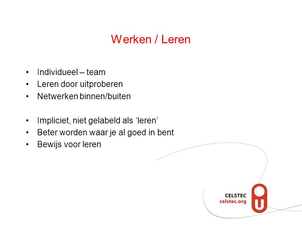 Werken / Leren Individueel – team Leren door uitproberen Netwerken binnen/buiten Impliciet, niet gelabeld als 'leren' Beter worden waar je al goed in