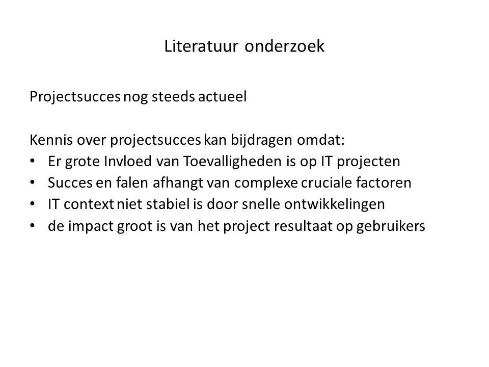 Literatuur onderzoek Projectsucces nog steeds actueel Kennis over projectsucces kan bijdragen omdat: Er grote Invloed van Toevalligheden is op IT proj