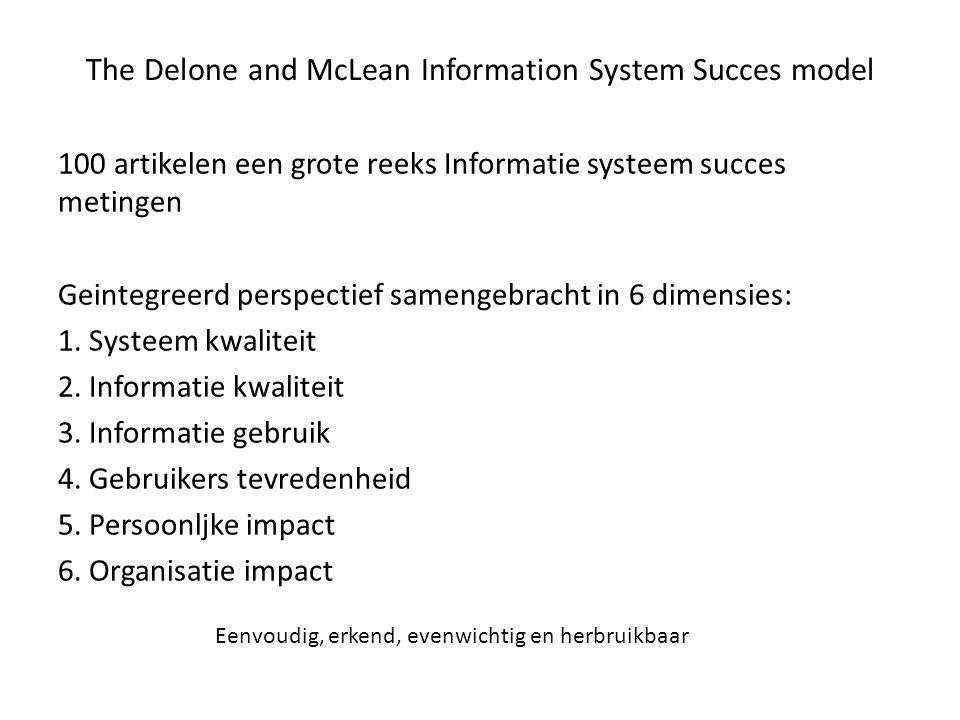 The Delone and McLean Information System Succes model 100 artikelen een grote reeks Informatie systeem succes metingen Geintegreerd perspectief sameng