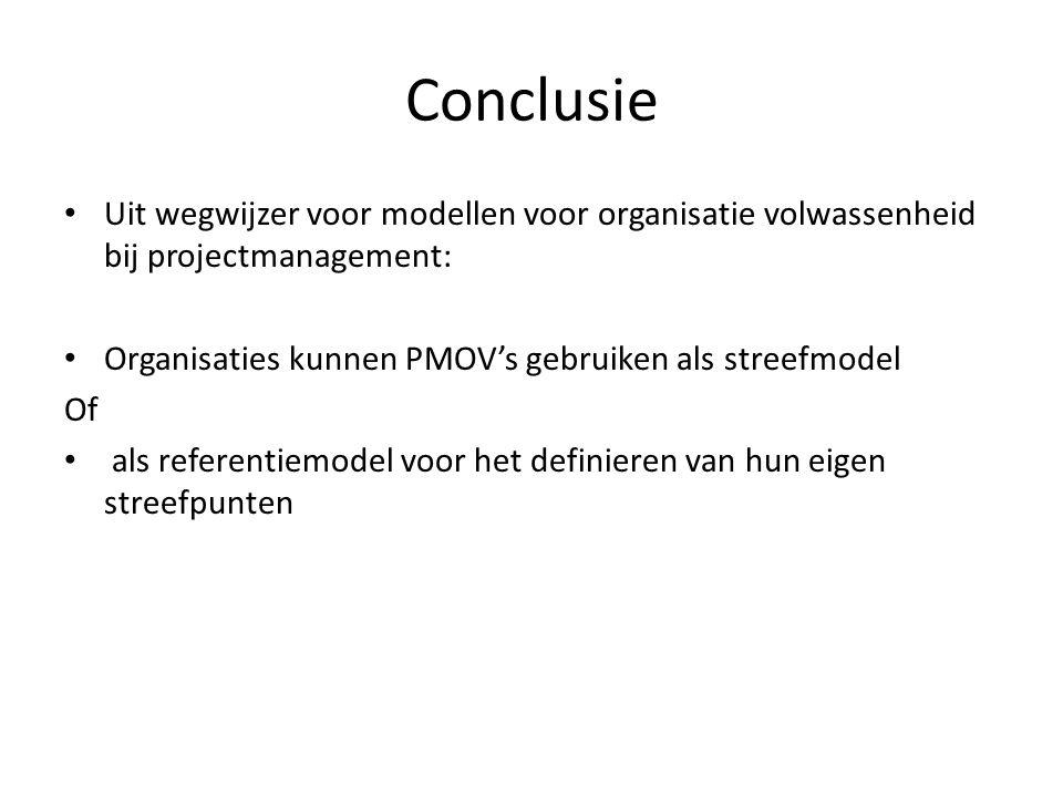 Conclusie Uit wegwijzer voor modellen voor organisatie volwassenheid bij projectmanagement: Organisaties kunnen PMOV's gebruiken als streefmodel Of al