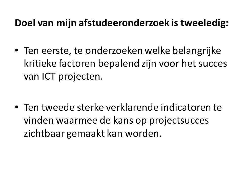 Doel van mijn afstudeeronderzoek is tweeledig: Ten eerste, te onderzoeken welke belangrijke kritieke factoren bepalend zijn voor het succes van ICT pr