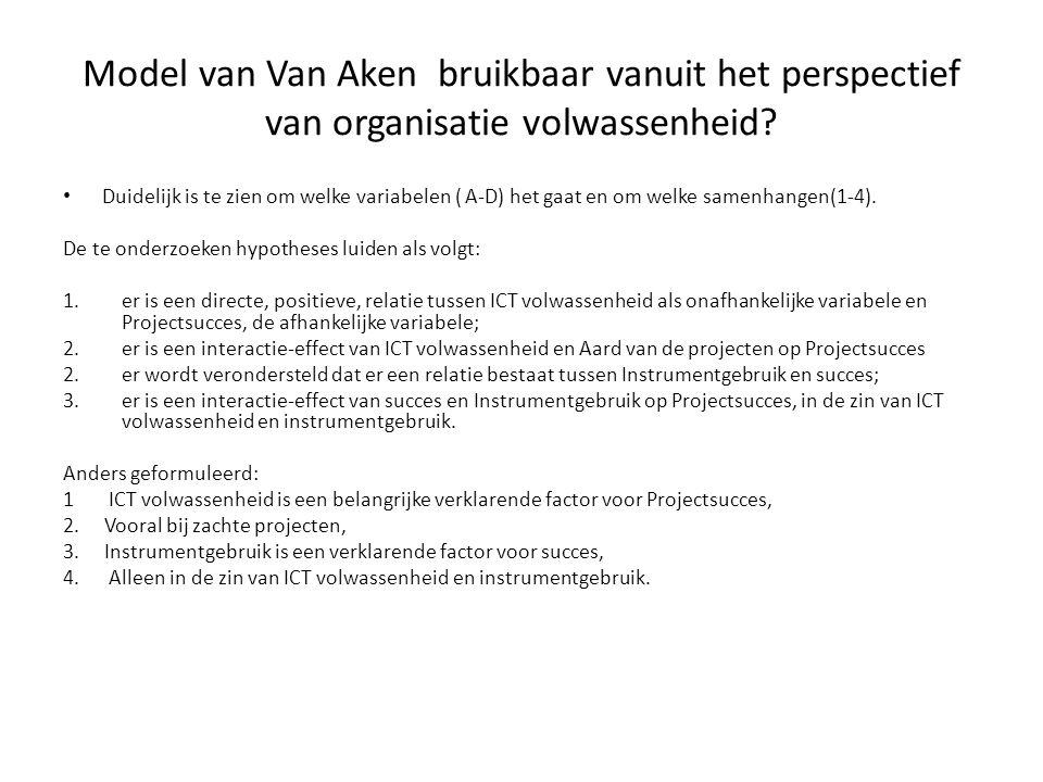 Model van Van Aken bruikbaar vanuit het perspectief van organisatie volwassenheid? Duidelijk is te zien om welke variabelen ( A-D) het gaat en om welk