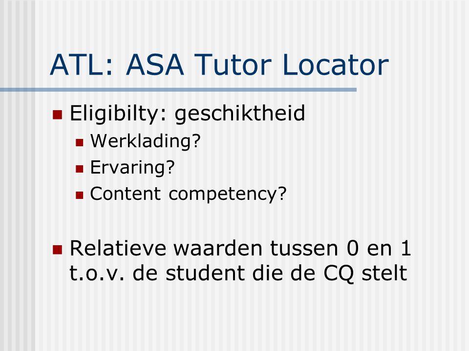 ATL: ASA Tutor Locator Eligibilty: geschiktheid Werklading.