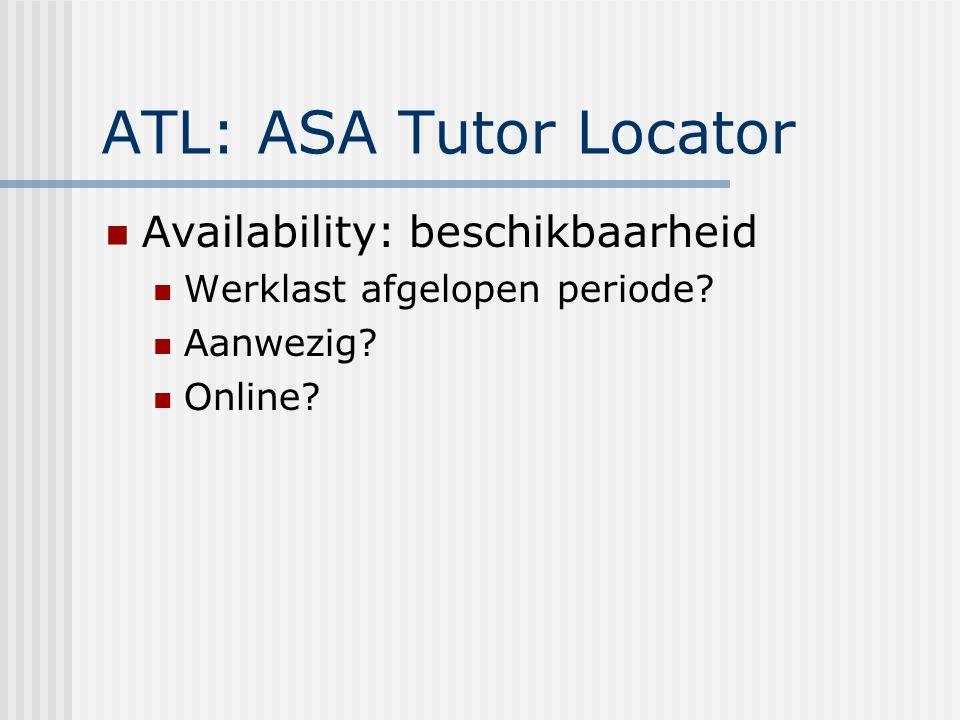 ATL: ASA Tutor Locator Availability: beschikbaarheid Werklast afgelopen periode Aanwezig Online