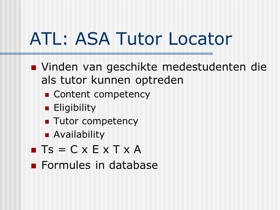 ATL: ASA Tutor Locator Vinden van geschikte medestudenten die als tutor kunnen optreden Content competency Eligibility Tutor competency Availability Ts = C x E x T x A Formules in database