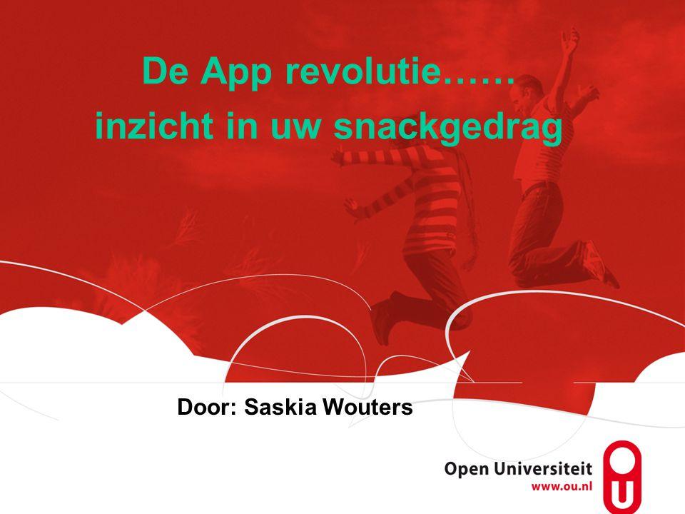 De App revolutie…… inzicht in uw snackgedrag Door: Saskia Wouters