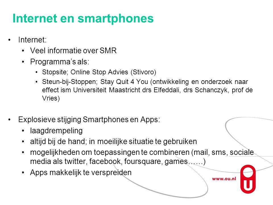Internet en smartphones Internet: Veel informatie over SMR Programma's als: Stopsite; Online Stop Advies (Stivoro) Steun-bij-Stoppen; Stay Quit 4 You