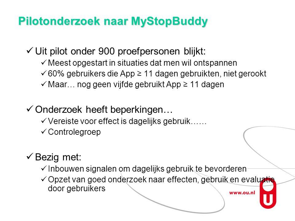 Pilotonderzoek naar MyStopBuddy Uit pilot onder 900 proefpersonen blijkt: Meest opgestart in situaties dat men wil ontspannen 60% gebruikers die App ≥