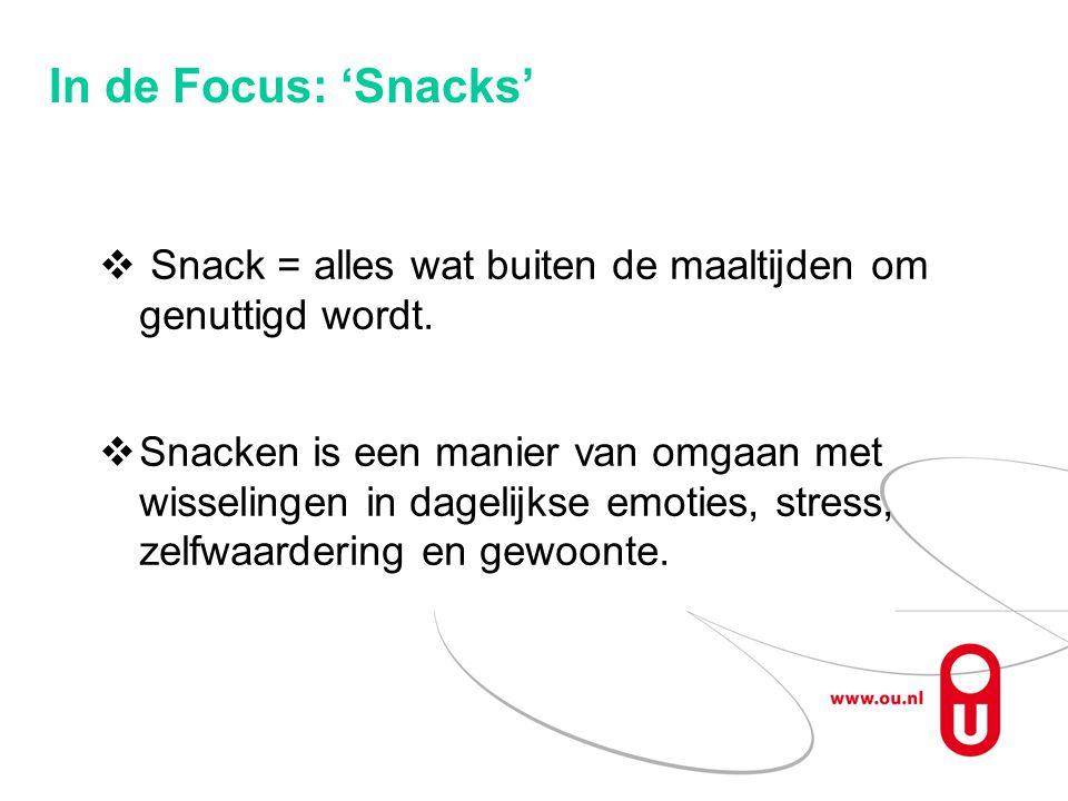 In de Focus: 'Snacks'  Snack = alles wat buiten de maaltijden om genuttigd wordt.  Snacken is een manier van omgaan met wisselingen in dagelijkse em