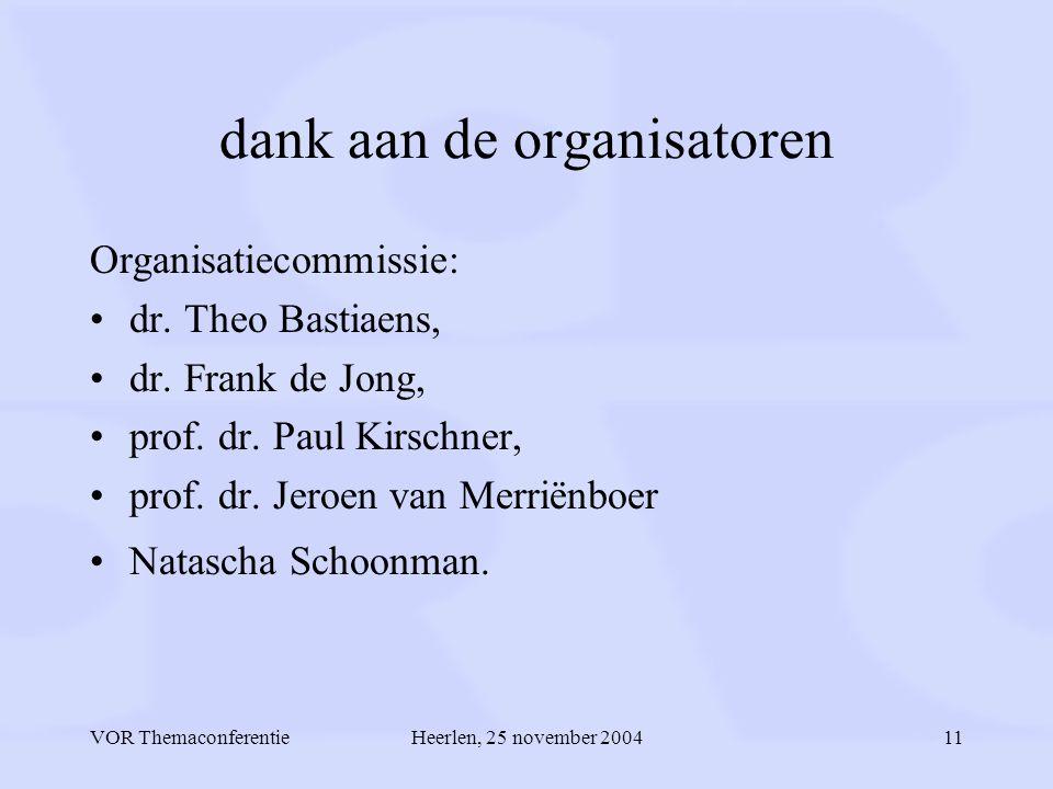 VOR ThemaconferentieHeerlen, 25 november 200411 dank aan de organisatoren Organisatiecommissie: dr.