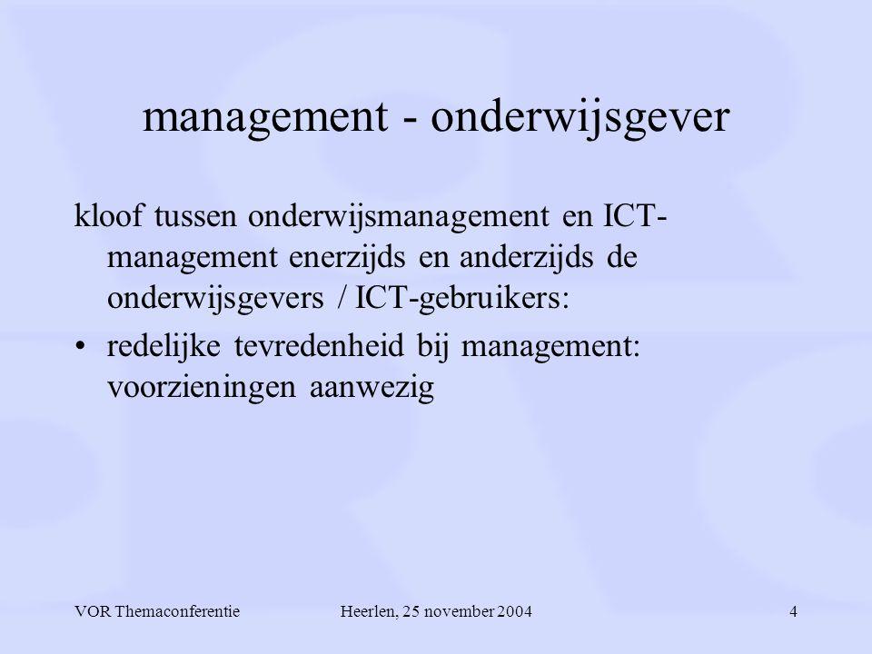 VOR ThemaconferentieHeerlen, 25 november 20044 management - onderwijsgever kloof tussen onderwijsmanagement en ICT- management enerzijds en anderzijds de onderwijsgevers / ICT-gebruikers: redelijke tevredenheid bij management: voorzieningen aanwezig