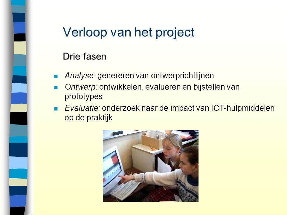 Verloop van het project Drie fasen n n Analyse: genereren van ontwerprichtlijnen n n Ontwerp: ontwikkelen, evalueren en bijstellen van prototypes n n Evaluatie: onderzoek naar de impact van ICT-hulpmiddelen op de praktijk