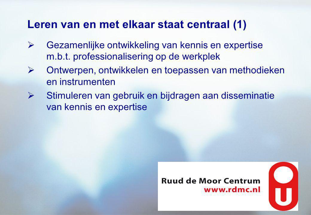 Leren van en met elkaar staat centraal (1)  Gezamenlijke ontwikkeling van kennis en expertise m.b.t. professionalisering op de werkplek  Ontwerpen,