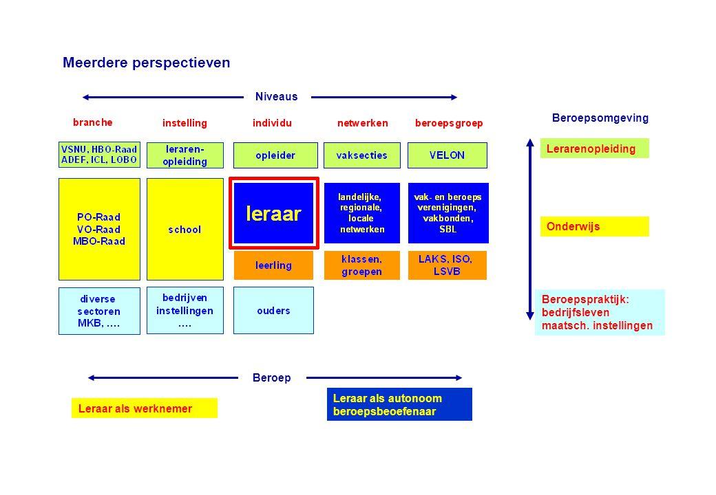 Lerarenopleiding Beroepspraktijk: bedrijfsleven maatsch. instellingen Onderwijs Leraar als autonoom beroepsbeoefenaar Leraar als werknemer Meerdere pe