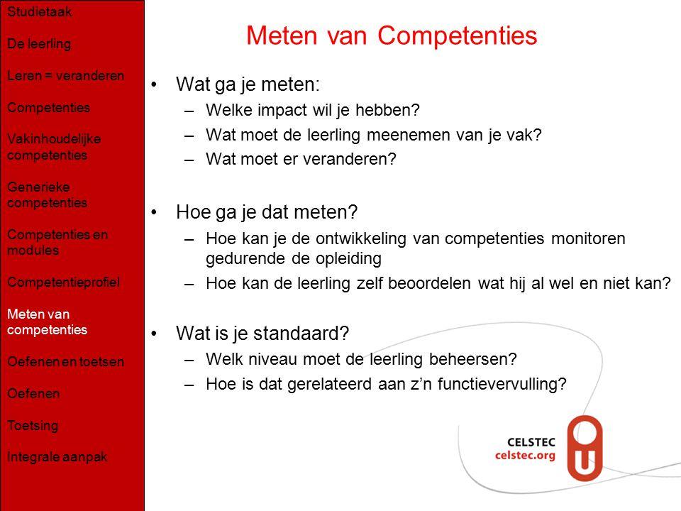 Meten van Competenties Wat ga je meten: –Welke impact wil je hebben? –Wat moet de leerling meenemen van je vak? –Wat moet er veranderen? Hoe ga je dat