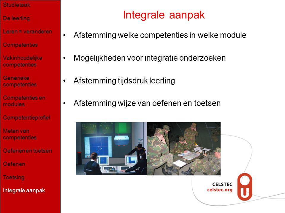 Afstemming welke competenties in welke module Mogelijkheden voor integratie onderzoeken Afstemming tijdsdruk leerling Afstemming wijze van oefenen en