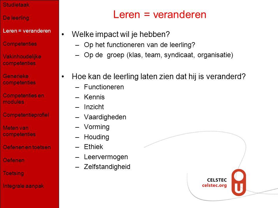 Leren = veranderen Welke impact wil je hebben? –Op het functioneren van de leerling? –Op de groep (klas, team, syndicaat, organisatie) Hoe kan de leer