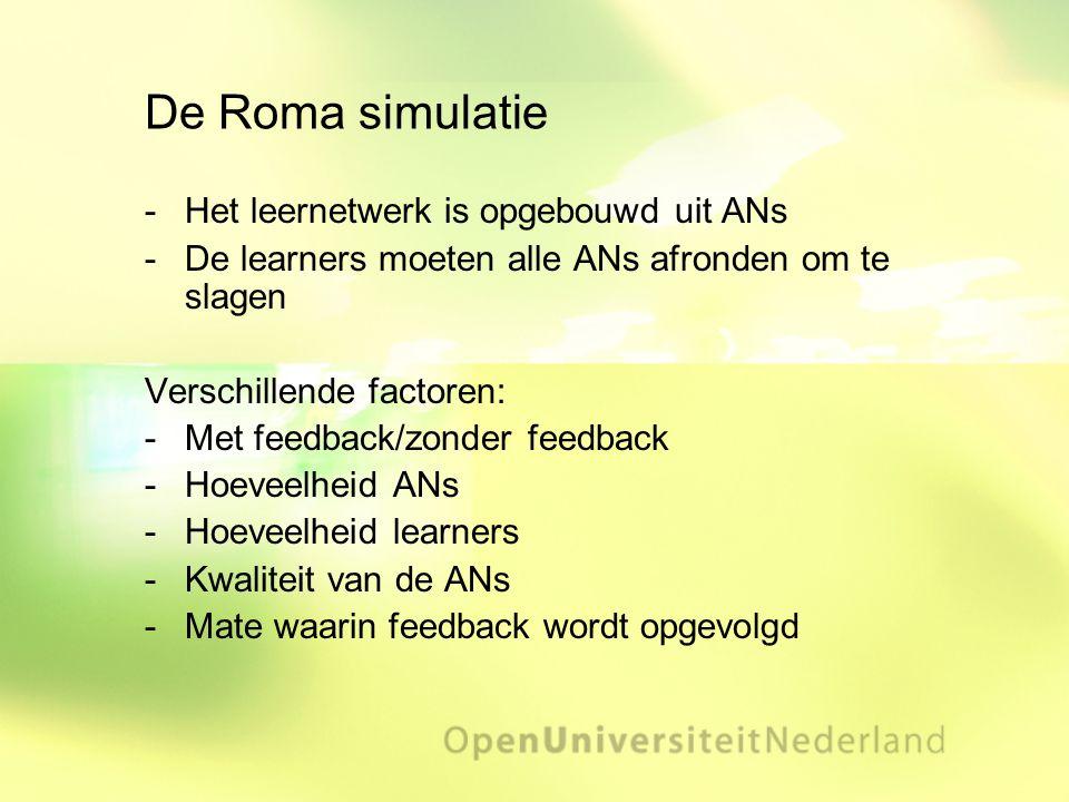 De Roma simulatie Het leernetwerk is opgebouwd uit ANs De learners moeten alle ANs afronden om te slagen Verschillende factoren: Met feedback/zonde