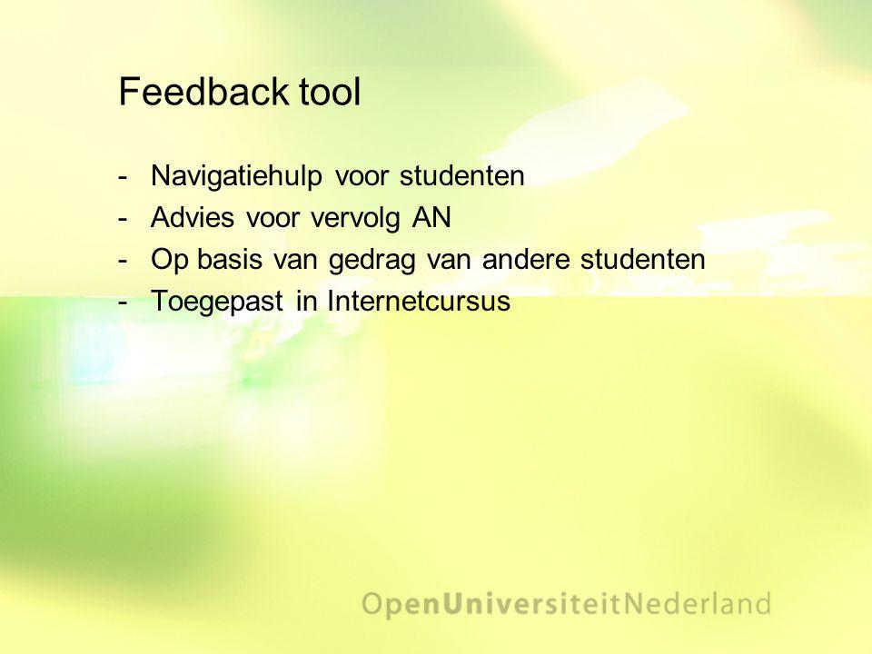 Feedback tool Navigatiehulp voor studenten Advies voor vervolg AN Op basis van gedrag van andere studenten Toegepast in Internetcursus