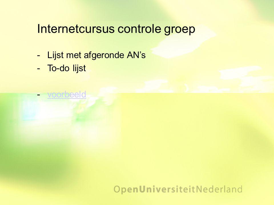 Internetcursus controle groep Lijst met afgeronde AN's To-do lijst voorbeeldvoorbeeld
