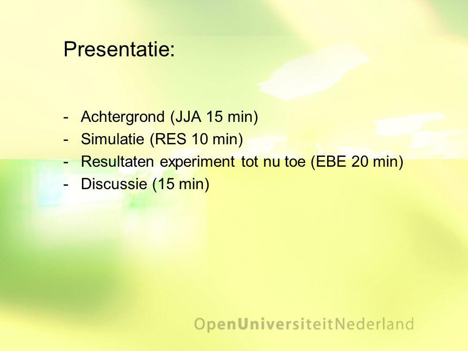 Presentatie: -Achtergrond (JJA 15 min) -Simulatie (RES 10 min) -Resultaten experiment tot nu toe (EBE 20 min) -Discussie (15 min)