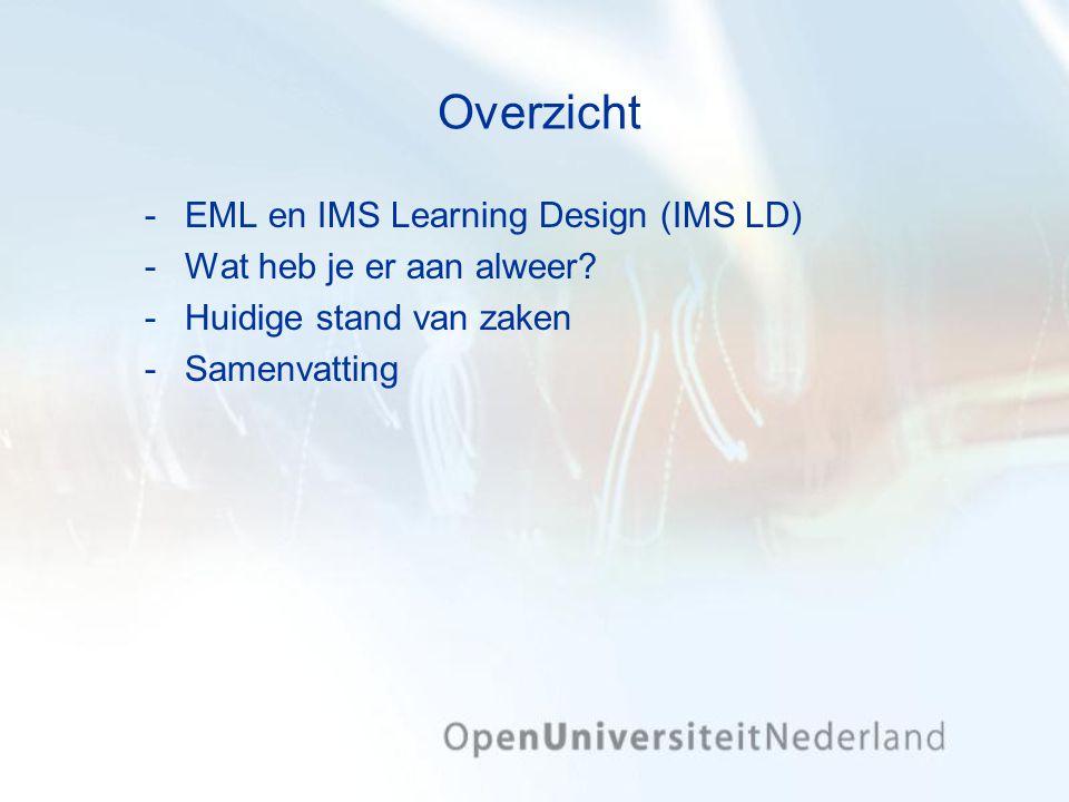Overzicht EML en IMS Learning Design (IMS LD) Wat heb je er aan alweer? Huidige stand van zaken Samenvatting