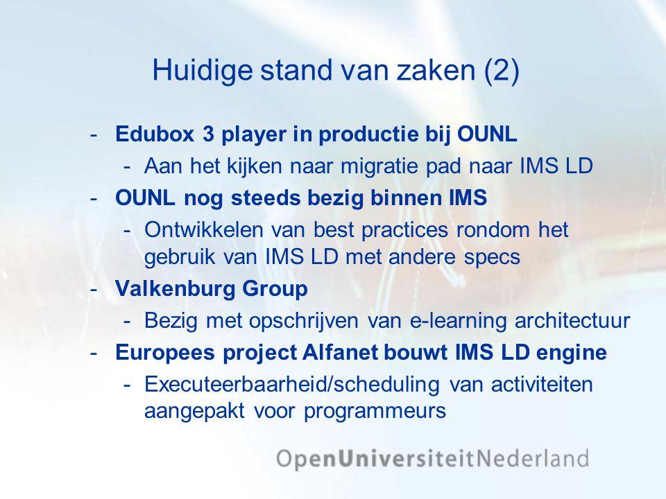 Huidige stand van zaken (2) Edubox 3 player in productie bij OUNL Aan het kijken naar migratie pad naar IMS LD OUNL nog steeds bezig binnen IMS On
