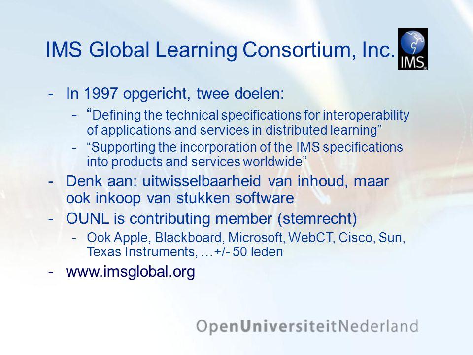 Het maken IMS-LD 'leerervaringen' Leerprocessen worden gemodelleerd in de IMS- LD-'taal' Deze modellen worden 'afgespeeld' in een 'speler' (software) die IMS-LD kan interpreteren Dit proces is analoog aan het aanmaken van onderwijsmateriaal in HTML en het afspelen daarvan in een browser