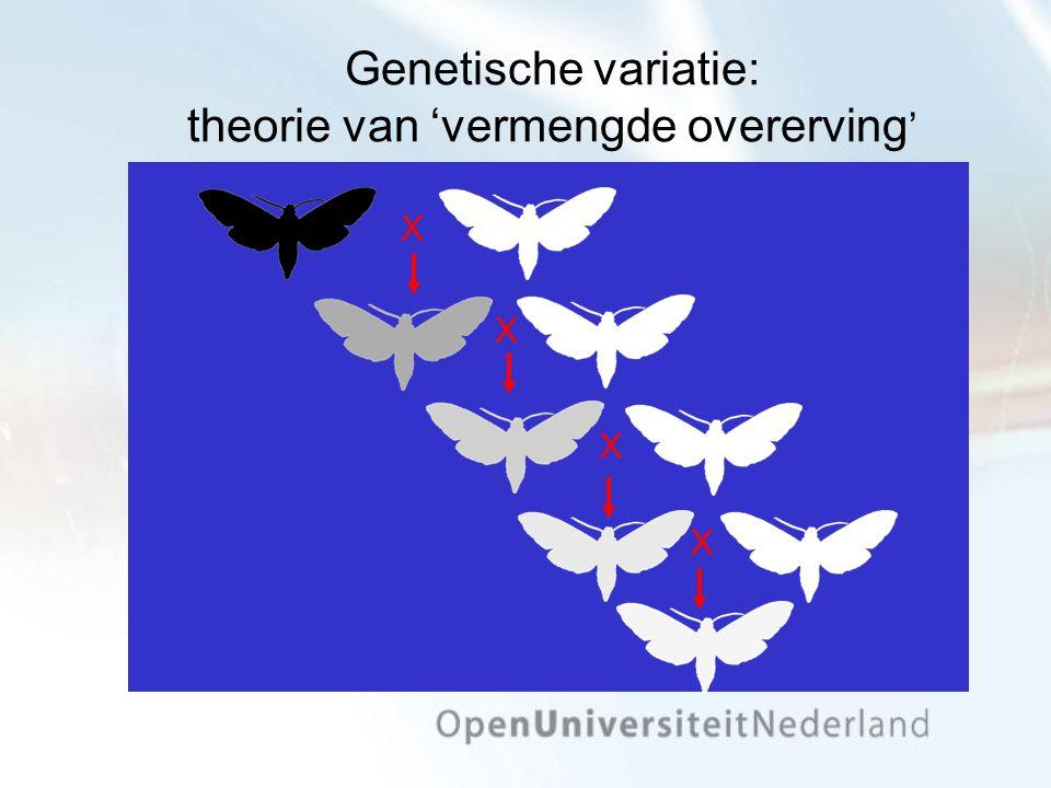 Genetische variatie: theorie van 'vermengde overerving ' X X X X