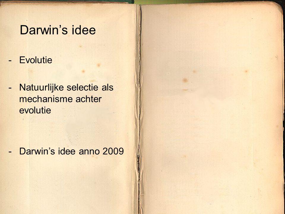 Darwin's idee Evolutie Natuurlijke selectie als mechanisme achter evolutie Darwin's idee anno 2009