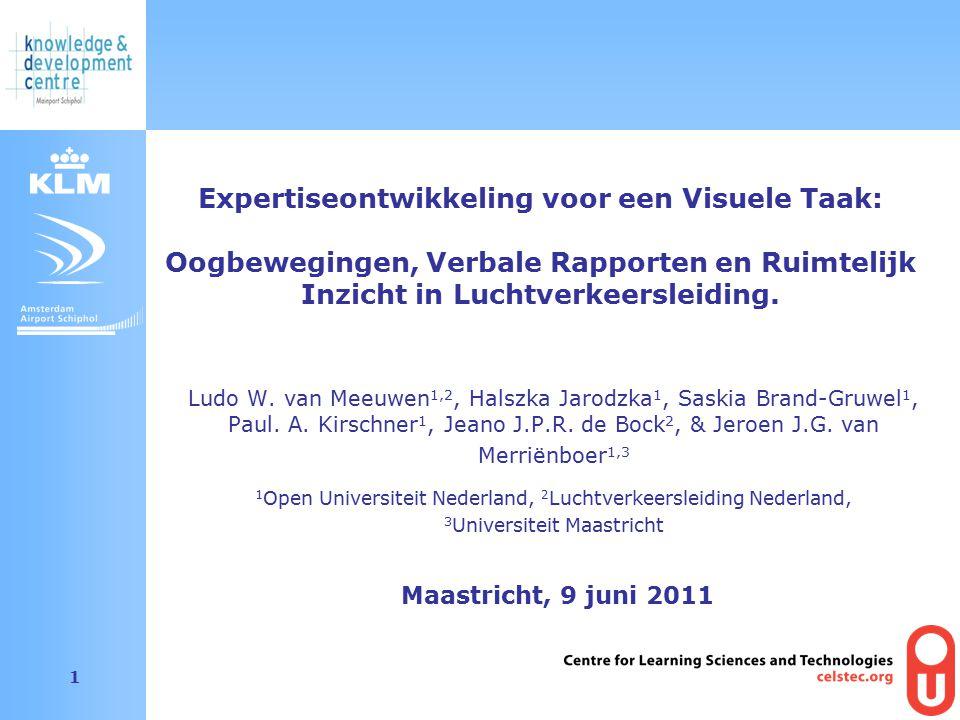 Amsterdam Airport Schiphol 1 Ludo W. van Meeuwen 1,2, Halszka Jarodzka 1, Saskia Brand-Gruwel 1, Paul. A. Kirschner 1, Jeano J.P.R. de Bock 2, & Jeroe