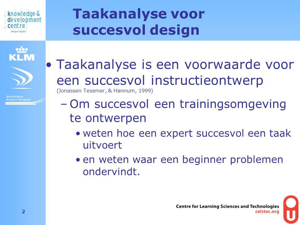 Amsterdam Airport Schiphol 2 Taakanalyse voor succesvol design Taakanalyse is een voorwaarde voor een succesvol instructieontwerp (Jonassen Tessmer, & Hannum, 1999) –Om succesvol een trainingsomgeving te ontwerpen weten hoe een expert succesvol een taak uitvoert en weten waar een beginner problemen ondervindt.