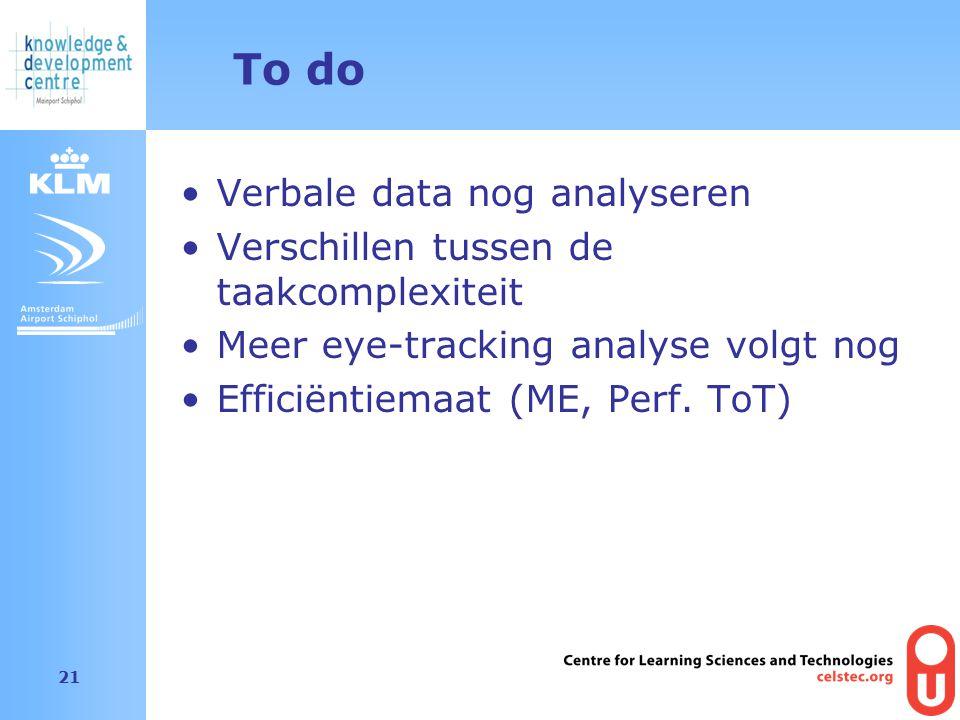 Amsterdam Airport Schiphol 21 To do Verbale data nog analyseren Verschillen tussen de taakcomplexiteit Meer eye-tracking analyse volgt nog Efficiëntiemaat (ME, Perf.