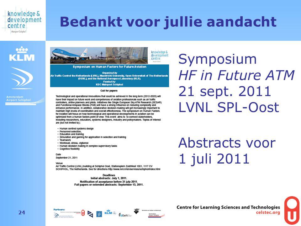 Amsterdam Airport Schiphol 24 Bedankt voor jullie aandacht Symposium HF in Future ATM 21 sept. 2011 LVNL SPL-Oost Abstracts voor 1 juli 2011
