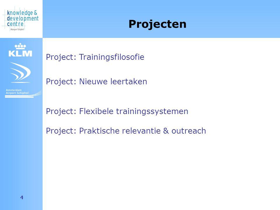 Amsterdam Airport Schiphol 4 Project: Trainingsfilosofie Projecten Project: Nieuwe leertaken Project: Flexibele trainingssystemen Project: Praktische