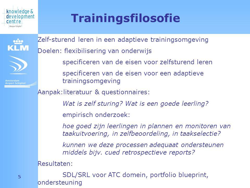 Amsterdam Airport Schiphol 5 Trainingsfilosofie Zelf-sturend leren in een adaptieve trainingsomgeving Doelen: flexibilisering van onderwijs specificer
