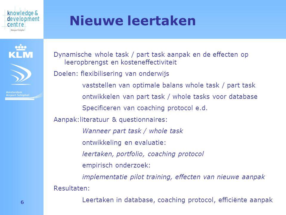 Amsterdam Airport Schiphol 6 Nieuwe leertaken Dynamische whole task / part task aanpak en de effecten op leeropbrengst en kosteneffectiviteit Doelen: