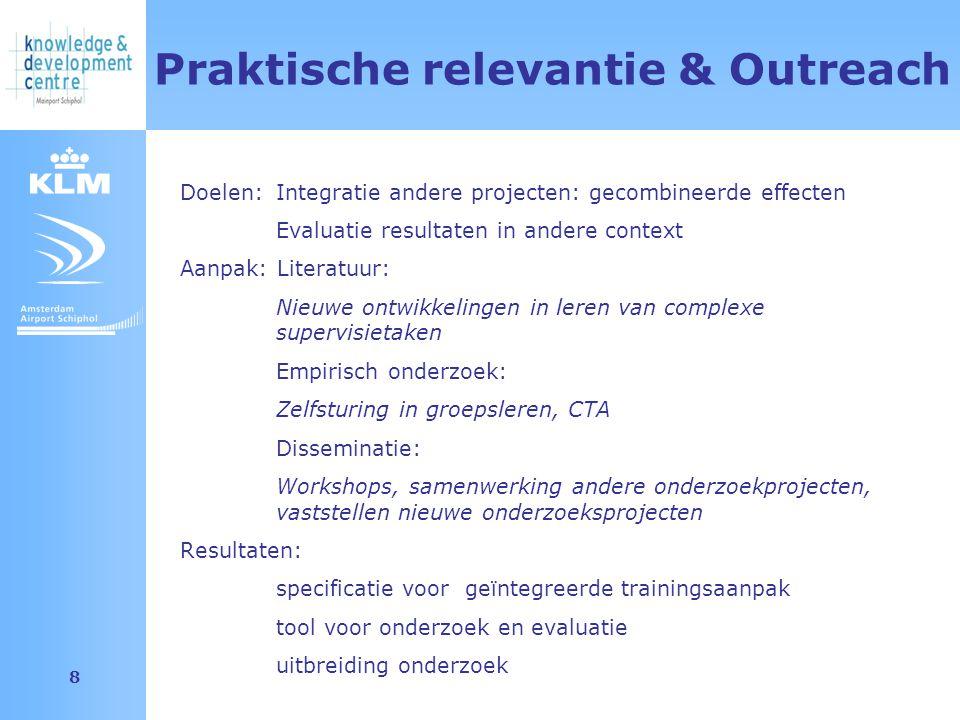 Amsterdam Airport Schiphol 8 Praktische relevantie & Outreach Doelen: Integratie andere projecten: gecombineerde effecten Evaluatie resultaten in ande