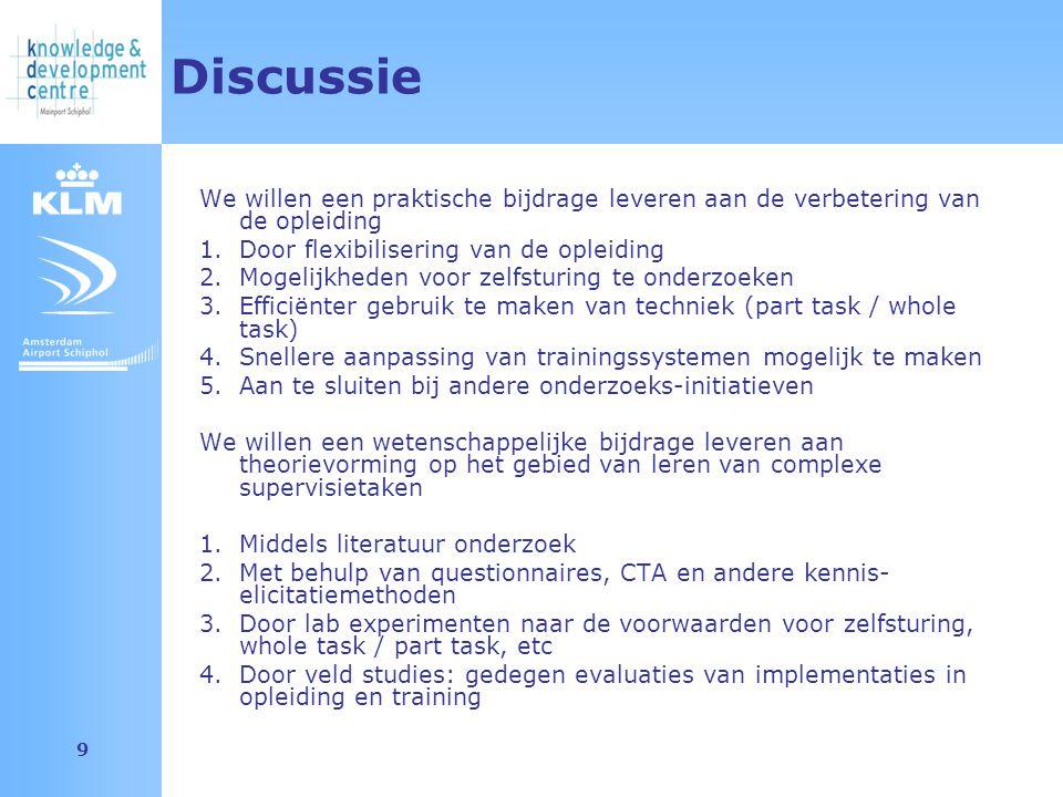Amsterdam Airport Schiphol 9 Discussie We willen een praktische bijdrage leveren aan de verbetering van de opleiding 1.Door flexibilisering van de opl
